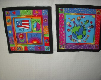 Retro Peace and Love Pillow Squares set of 2
