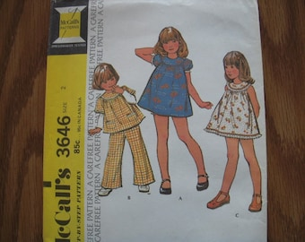 Vintage McCalls Pattern 3646 Childs' 2
