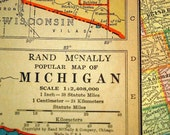 Vintage Map of Michigan. Published 1937