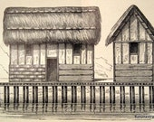 1874 German Antique Print of Stilt Houses
