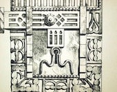 1872 Antique Print of Cabinet Details - Large Antique Lithograph of a Details from a Cabinet in Antwerp, Belgium. Plate no. 96
