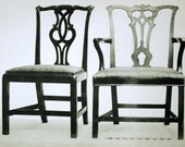 1900 Vintage Print of English Household Furniture. Three Chairs from 1780 to 1800, Plate 32 - Black and White