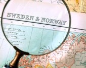 1898 Large Antique Map of Sweden and Norway
