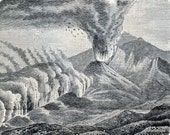1905 Antique Engraving of Volcanoes