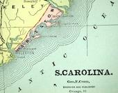 1888 Antique Map of South Carolina - Antique South Carolina Map - South Carolina Antique Map