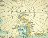 1922 Antique Map of the South Polar Regions