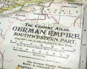 1899 Antique Map of the German Empire, Southwestern Part - German Empire Antique Map - Century Atlas - Antique German Empire Map