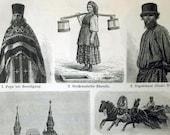 1897 German Engraving of Russian Culture