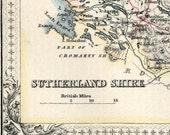 1862 Rare Hand-Coloured Antique Map of Sutherland Shire, Scotland