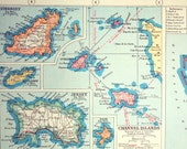1922 Antique Map of British Possessions in Europe - Maltese Islands, Gibraltar, Cyprus, and the Channel Islands