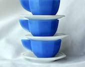 Circa 1930s 12-piece Akro Agate Octagonal Blue, Green, Yellow, and White 12-piece Child's Tea Set.