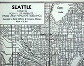 Vintage Map of Seattle, Washington - 1942 Seattle Map - Black and White Map - Home Decor