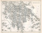 1860 German Vintage Map of Greece - Old Map of Greece