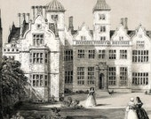 1846 Your Personal Downton Abbey Series. English Antique Wood Engraving of Aston Hall, Warwickshire, England