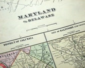 Antique Map of Maryland and Delaware - DC - Baltimore - 1901 Large Map