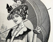 1900 Antique Print of Gorgeous Summer Fashion with Parasol. From The Delineator