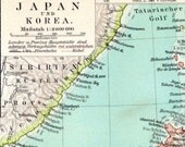 1895 German Antique Map of Japan and Korea