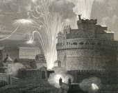 1860 Antique Steel Engraving of Festive Events and Celebrations in Rome and Paris