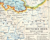 1895 German Vintage Map of the German Empire - Historical Map
