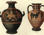 Antique Print of Greek Pottery - 1894 Chromolithograph