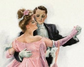 1907 Antique Harrison Fisher Illustration. Pretty in Pink. From A Dream of Fair Women