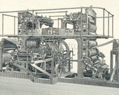 1894 German Back-to-Back Antique Engraving of Highspeed Printing Presses