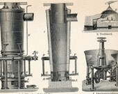 1894 German Antique Engraving of Silver Production