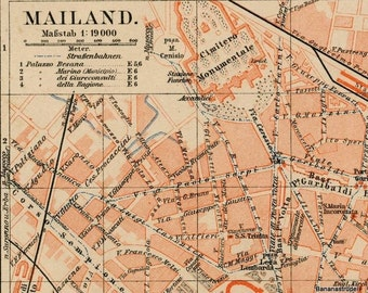 1895 Vintage Map of Milan, Italy - Milan City Map