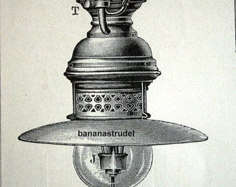1895 Antique German Engraving of Lamps