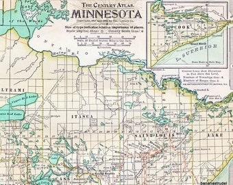 1902 Antique Map of Minnesota - Minnesota Antique Map - Century Atlas - Antique Minnesota Map