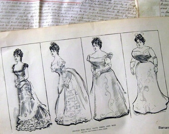 Gibson Girl - The Girl Who Wanted a Small Waist - Humorous 1906 Antique Charles Dana Gibson Print