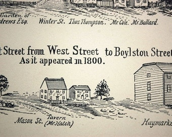 1882 Antique Print of Views of Tremont Street in Boston, as it appeared in 1800.