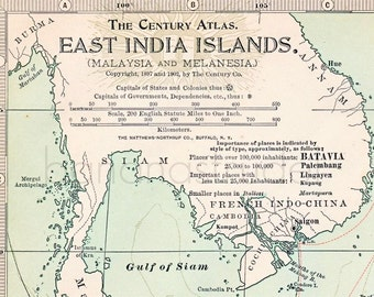 1902 Antique Map of Malaysia and Melanesia - East India Islands - Century Atlas Map