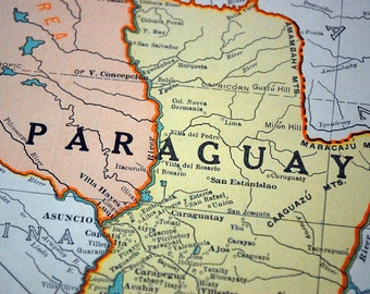 1937 Vintage Map of Paraguay and Uruguay - Uruguay Paraguay Vintage Map