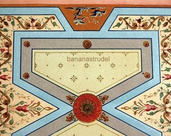 Large Antique Print of Ceiling Design for a Paris Cafe - 1800s Chromolithograph