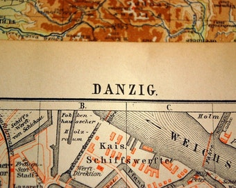 1897 Antique Map of Danzig (Gdansk), Poland