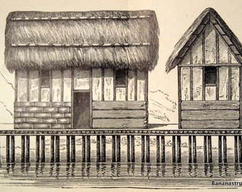 1874 German Antique Print of Stilt Houses