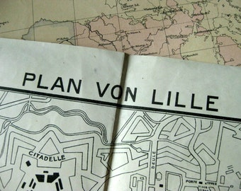 Ca. 1916 Large Vintage Map of Lille, France, Quite Possibly a German Military Map - Vintage City Map