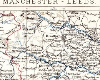 1894 German Antique Map of Manchester and Leeds