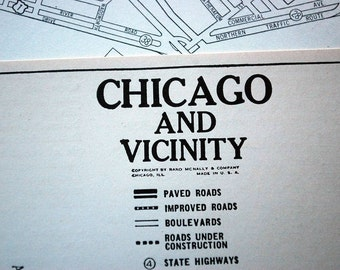 1937 Vintage City Map of Chicago and Vicinity - Vintage Chicago Map - Old Chicago Map
