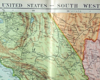 1920 Very Large Antique Map of the United States (South West)