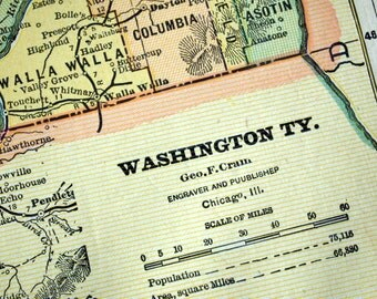1888 Antique Map of Washington Territory