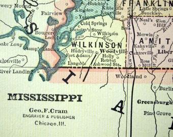 1888 Antique Map of Mississippi  - Antique Map of Mississippi - Mississippi Antique Map