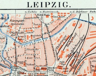 1895 Vintage Map of Leipzig, Germany - Vintage City Map - Old City Map
