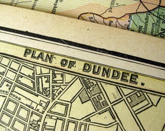 1888 Antique Map of Dundee and Glasgow, Scotland, the UK