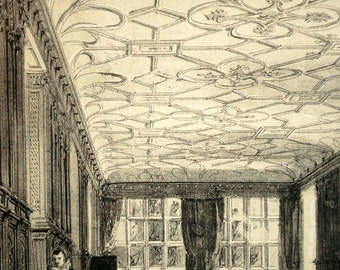 1847 Your Personal Downton Abbey Series. English Antique Wood Engraving of the Long Gallery, Haddon Hall, Derbyshire, England