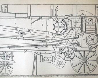 1895 German Back to Back Engraving of Threshing Machines
