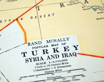 1937 Vintage Map of Turkey, Syria, and Iraq - Middle East Vintage Map - Syria Turkey Iraq Vintage Map