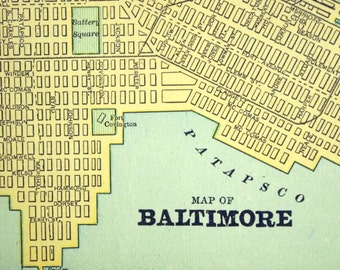 1891 Antique Map of Baltimore, Maryland - City Map