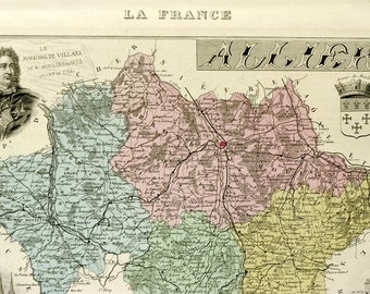 Antique Map of Allier, France - 1883 Illustrated Map -Hand-Coloured - Vintage Map - Home Decor